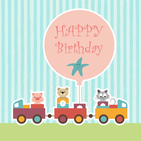 birthday train: Greeting card for baby album. Child celebrated 1 year. Happy birthday. Colorful train carries toys, kindly and funny animals: pig, teddy-bear, kitten. By train attached pink ball with the inscription.