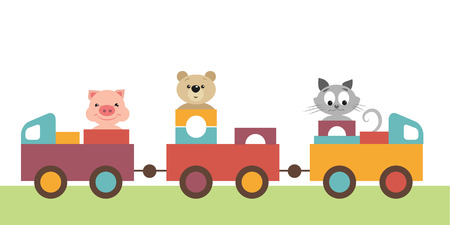 Colorful children's train carries transport toys, gift, wooden pyramids, and kindly, funny, pretty animals. There are pig, piggy, teddy-bear, bear, kitten, cat in railway carriage Vector Illustration