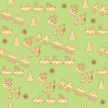 birthday train: Seamless pattern of childrens toys. There is a funny animal, piggy, kitten, teddy bear on the train. Childrens pyramid and beautiful smiling giraffe.  Background with pastel soft childrens color