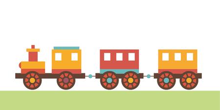 clip di locomotiva arte di giocattoli per bambini. Il treno con un vagone rimorchio. abbastanza illustrazione