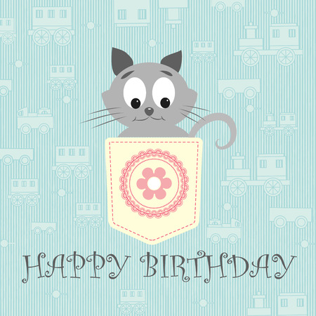 birthday train: Cute card. Blue background with pretty gray little cat. Kitty placed in a pocket of soft yellow color.  Pocket fabric with a circle ornament and a flower in centre. Happy Birthday.