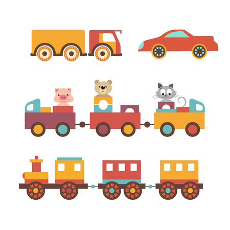 baby carriage: Vector set clip art construction machinery of toys for children. Trucks, cars, locomotive. The train with a trailer seat funny little animals. The piggy, kitten and teddy bear.
