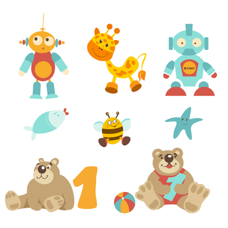 one of a kind: Vector illustration - pretty baby toys set. Sitting bear with number one, robot with button, yellow bee, starfish, gifaff, fish with red lips, colorfull ball.