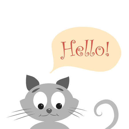 sly: Easy cute kitty say hello to you. Vector illustration of cute cat with word HELLO