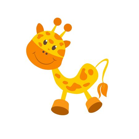 spotted fur: Giraffe. isolated object. Baby toy with spotted fur. He has a cute little face, smile, black eyes, short ears and horns.