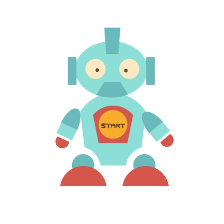 bebes ni�as: simp�tico robot con car�cter propio. Ojos salientes de sorpresa en su rostro. �l tiene poderosas piernas con zapatos rojos, en el ombligo con empiezan las palabras. juguete divertido del beb�. ilustraci�n vectorial