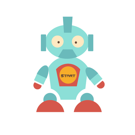 Cute robot with own character. Protruding surprised eyes on his face. He has powerful legs with red shoes, on the belly button with the words start. Funny baby toy. Vector illustration
