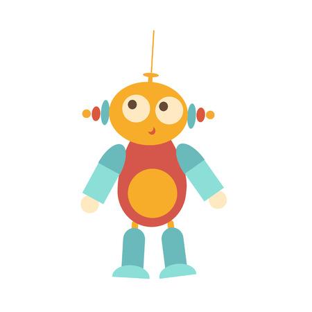 ombligo: objeto aislado divertido con los ojos grandes. OVNI, extraterrestre. Hay antena en la cabeza. botón naranja grande en el vientre. juguete buenas infantil con carácter propio Foto de archivo