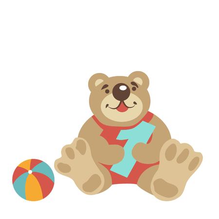 pelota caricatura: Dibujados a mano de oso de peluche aislado en blanco. Se sienta y mantener el n�mero 1, uno. Muy cerca se encuentra la pelota. Felicita el primer cumplea�os del beb�. Juguetes de ni�os. ilustraci�n vectorial