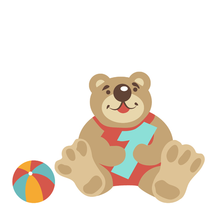 baby sitting: Hand drawn teddy bear isolated on white. It sitting and keep the number 1, one. Nearby is the ball. Congratulates the baby first birthday. Children toys. Vector illustration