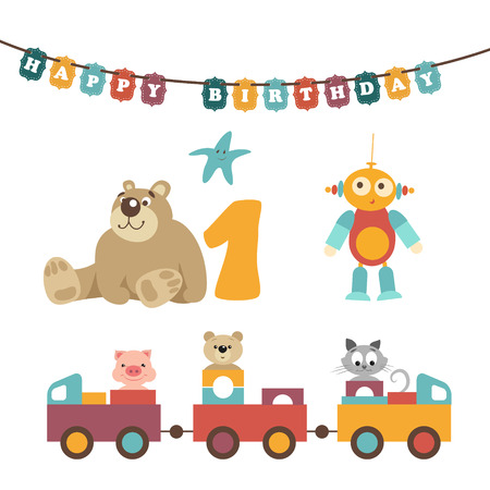 cute alien: Vector illustration. Pretty baby toys set. Bear sit with number one, robot have a button, starfish, colorful garland have an inscription Happy Birthday. Train together with animals. Piggy, bear, cat
