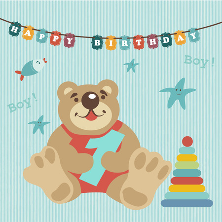 invitations card: Greeting card for baby album. Child celebrated 1 year. Happy birthday. Colorful train carries toys, kindly and funny animals. Pig, teddy-bear, kitten. By train attached red ball with the inscription.