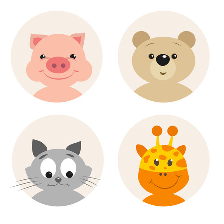 face  illustration: Set of four cute cartoon animal character on white background. Pink pig with a cheerful smile. Surprised Bear. Cute kitten cunning. Funny giraffe. Can be used for greeting cards and party invitations Illustration