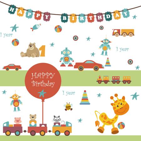 pelota caricatura: Conjunto de juguetes. Hay una guirnalda con las palabras feliz cumplea�os. Globos, coche, tren, oso, jirafa y otro objeto. Todos son perfectos para cualquier idea de dise�o. Se puede utilizar una servilleta, paquete o presione la pared
