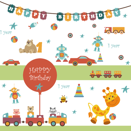 birthday train: Set of toys. There are a garland with the words HAPPY BIRTHDAY. Balloons, car, train, bear, giraffe and other object. All are perfect for any design ideas. Can be used a napkin, package or press Wall Illustration
