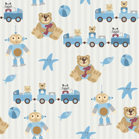 baby toys: Seamless pattern. Pretty toys, kids animals. The pig, bear, cat sitting in a train. Teddy keep number one. Aliens with cute facial expression. Fish and starfish. Ball. Objects on a striped background