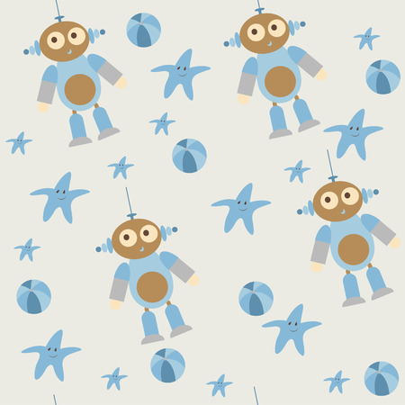alien robot: Seamless pattern. Childrens themed. Beautiful toys on a beige background. Alien robot with a typical  facial expression. Star and ball in blue. It can be used for a package design, wallpaper