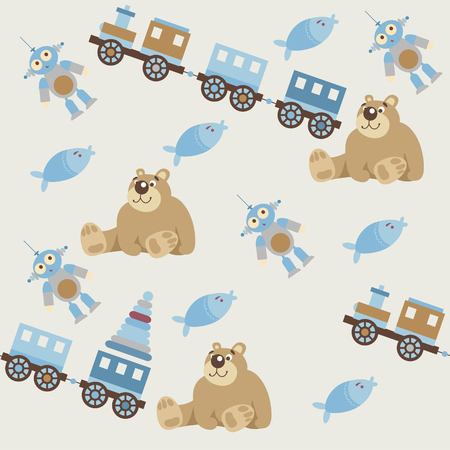baby toys: Seamless pattern. Pretty toys. Childrens themed. The bear is sitting. Aliens is flying. Fish. Pyramid on the locomotive. Objects on a beige background. It can be used for a package design, wallpaper Illustration