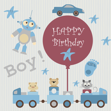 birthday greetings: Greeting card for baby album. Train carries toys, kindly animals. Pig, teddy bear, kitten. There are star, alien, car on the beige background. By train attached ball with inscription. Happy birthday Illustration