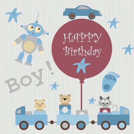 felicitaciones cumpleaÑos: Tarjeta de felicitación para el álbum del bebé. Tren transporta juguetes, animales bondadosos. Cerdo, oso de peluche, gatito. Hay estrellas, extranjero, coche en el fondo de color beige. En tren esférica unido con la inscripción. Feliz cumpleaños