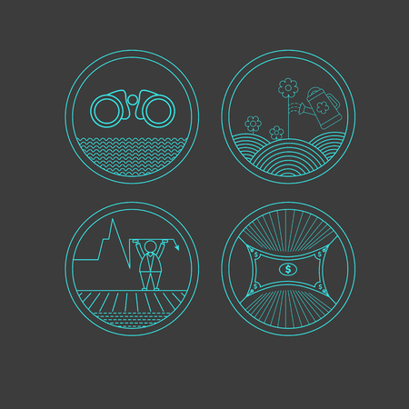 retrieval: Set of round icons on the dark background. Symbols for business.