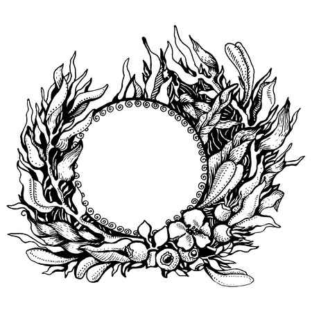 middle easter: Vector illustration. Hand drawing of pen and ink. Wreath of fantasy leaves on white background. There are rose hips with flower in the middle Illustration