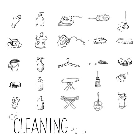 vacuum cleaner worker: Icons for cleaning services, maintenance.