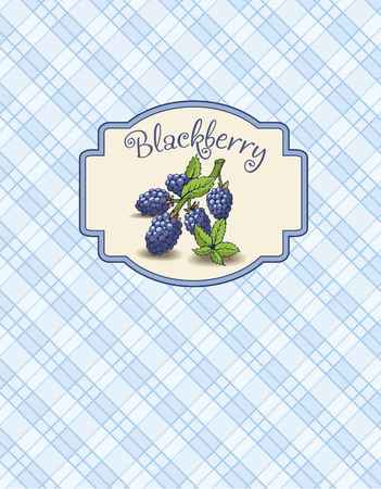 dewberry: A sticker of the blackberry with branch and leaves on the checkered  background.  It is a menu.