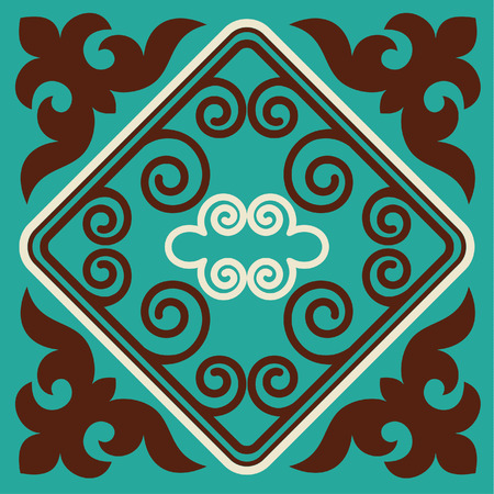 nomadic: Asian ornaments collection. Historically ornamental of nomadic people. It based on real-Kazakh carpets of felt and wool. Mirror-symmetric illustrations. Region Of Shymkent