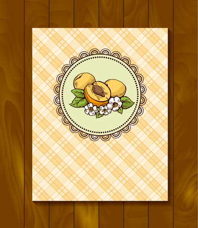 checkerboard backdrop: Vector restaurant brochure, menu design. Vector cafe template with hand-drawn graphic. Food flyer. Apricot with flowers and leaves on the checkered  background.  Wood backdrop.