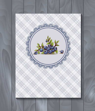 bilberry: Vector restaurant brochure, menu design. Vector cafe template with hand-drawn graphic. Food flyer. Bilberry with branch and leaves on the checkered  background.  Wood backdrop. Illustration