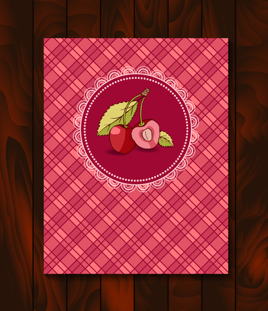 checkerboard backdrop: Vector restaurant brochure, menu design. Vector cafe template with hand-drawn graphic. Food flyer. Cherry with branch and leaves on the checkered  background.  Wood backdrop. Illustration
