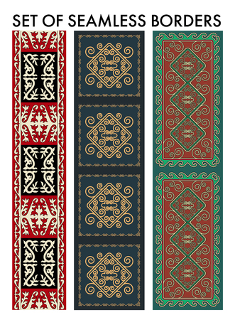 nomadic: Set os seamles aian ornaments collection. Historically ornamental of nomadic people. It based on real-Kazakh carpets of felt and wool. Mirror-symmetric illustrations. Region Of Shymkent