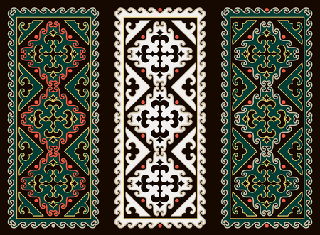 nomad: Asian ornaments collection. Historically ornamental of nomadic people. It based on real-Kazakh carpets of felt and wool. Mirror-symmetric illustrations. Region Of Shymkent