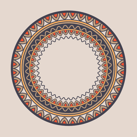 banding: Mandala. Doodle vector. Geometric decorative round plate with ornament. Kyrgyz, Kazakh circular abstract pattern. Design element ornaments