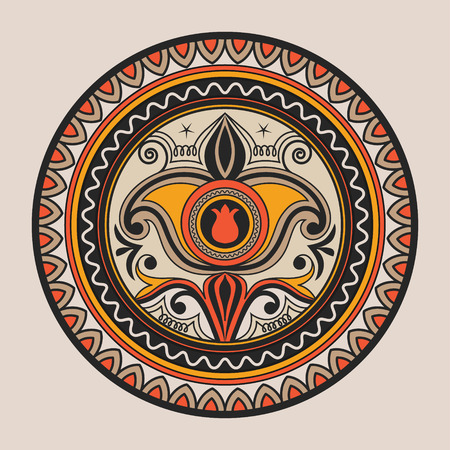 nomad: Mandala. Doodle vector. Geometric decorative round plate with ornament. Kyrgyz, Kazakh circular abstract pattern. Design element ornaments