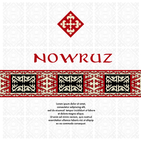 nomad: Nowruz. Spring funny holiday. Greeting card with asian ornaments. There are place for text. Illustration