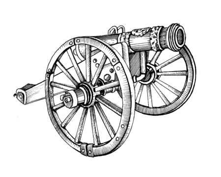 cannon gun: Historical old style cannon. Vintage gun.  illustrations. In engraving style.  picture with ink and pen. Using in your design