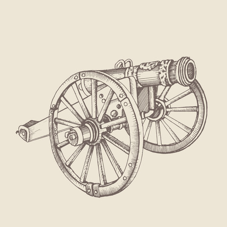 howitzer: Historical old style cannon. Vintage gun. illustrations. In engraving style. picture with ink and pen. Using in your design Illustration
