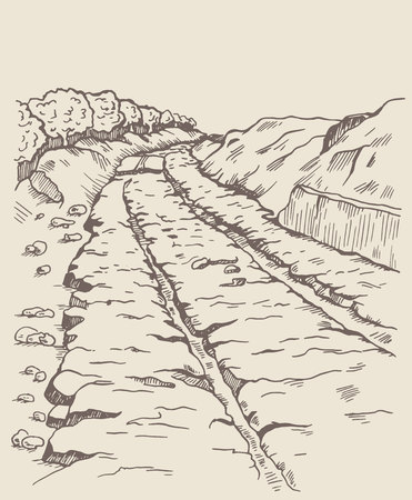 preceded: Preceded track, diolkos near Corinth in Ancient Greece. Ancient landmark. The road 6 km long, with deep grooves. They placed a wooden runners greased