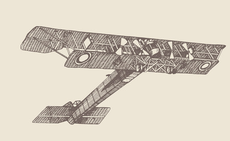 Vintage plane Ilya Muromets 1914. Hand drawn illustrations. In engraving style. Drawn in ink and pen. pictures. Using in your design Illustration