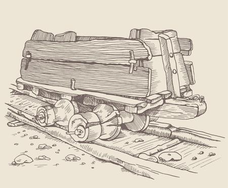 carreta madera: La vagoneta hist�rica, v�a del tren y carro de madera viejo, carro en Alemania. Ilustraci�n de la vendimia. el grabado de estilo. El uso de la imagen para su dise�o Vectores