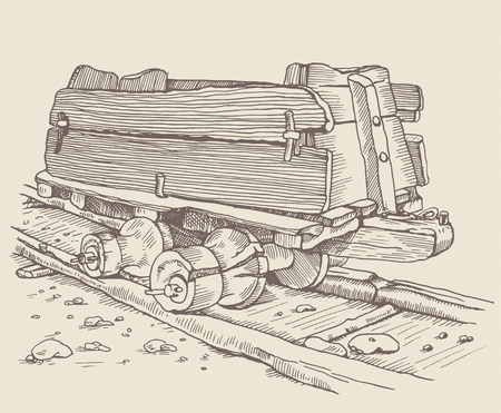 mining town: The historic minecart, track railway and old wooden wagon, trolley in Germany. Vintage illustration. Styling engraving. Using picture for your design Illustration