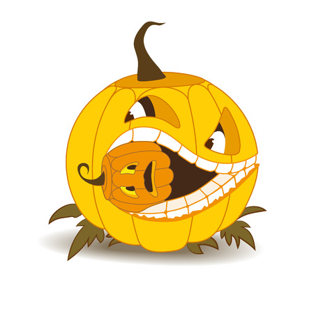 funny picture: Orange pumpkin with white teeth and a squint, eating a small pumpkin that has frightened. View fronalny. Comic funny picture. There are few dry grass, shadow