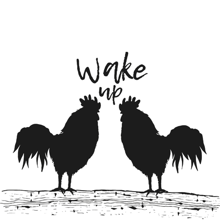 Vector illustration. Silhouette two rooster at dawn sun. Chicken birds are standing on a tree branch. Wake up. Graphics, handmade drawing cocks.