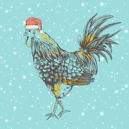 Outline design handmade illustration with rooster. Snowfall. Hand drawn brown cock on beige background. Illustration of vector for your design. Rooster - symbol Chinese New Year 2017