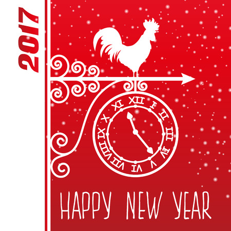 weathercock: Greeting card. Weather vane with rooster. Happy 2017 new year. Illustration