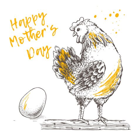 Vintage design with hen and egg. Happy Mother day.