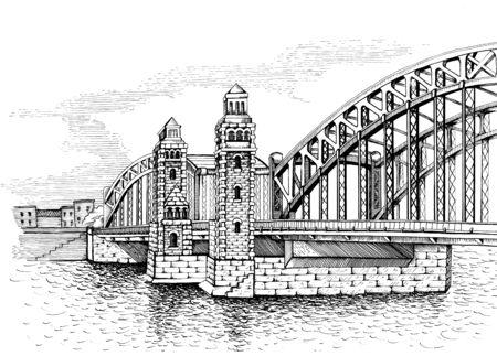 drawbridge: Bolsheokhtinsky bridge, St. Petersburg, Russia