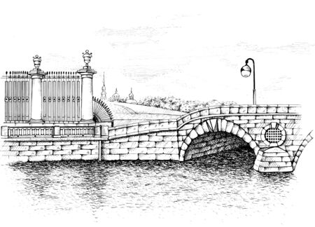 Pont de Prachechnyi, Saint-Pétersbourg, Russie. A proximité se trouvent la célèbre blanchisserie, de sorte que le pont est ainsi nommé